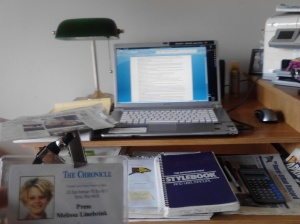 """My desk at home ... even here, it's my little piece of """"heaven."""""""